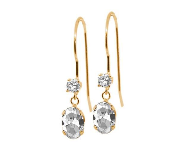 1.20 Ct Oval White Topaz 14K Yellow Gold Earrings