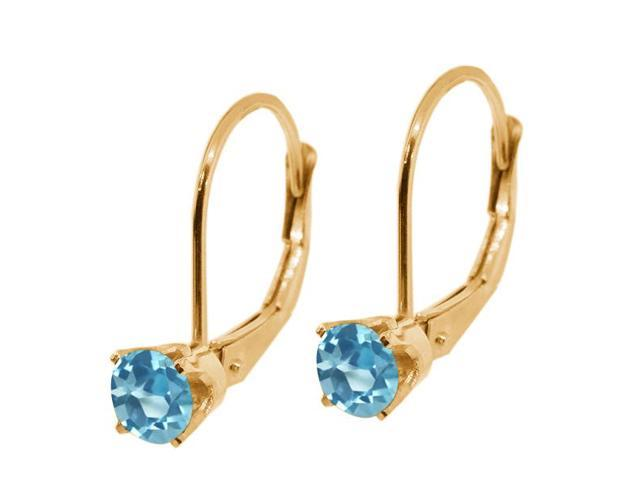 0.40 Ct Round Swiss Blue Topaz 14K Yellow Gold Earrings