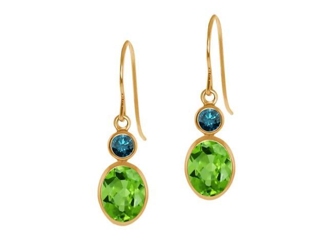 1.84 Ct Oval Green Peridot Blue Diamond 14K Yellow Gold Earrings