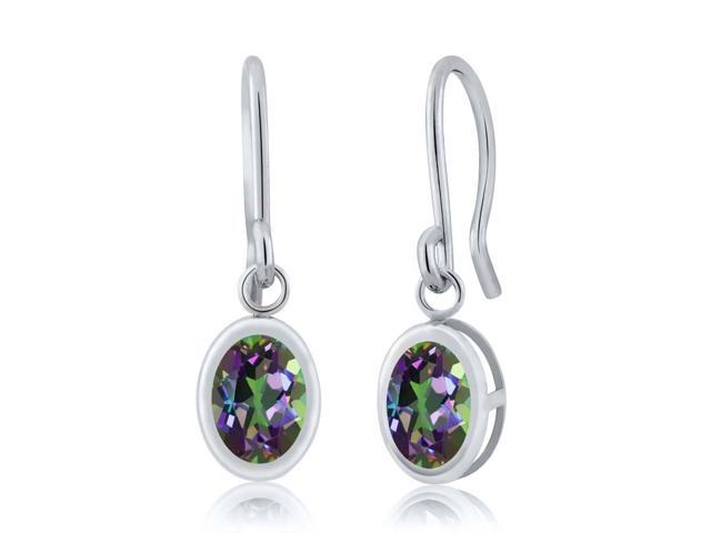 1.9 Ct Oval Green Mystic Topaz 925 Sterling Silver French Wire Dangling Earrings