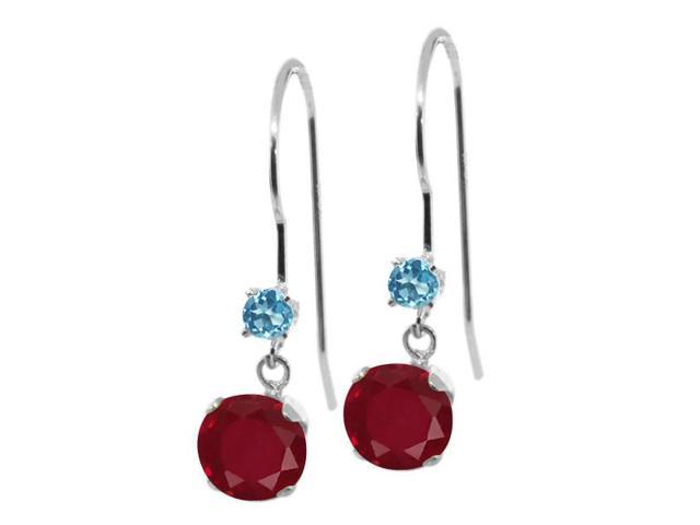 1.28 Ct Round Red Ruby and Swiss Blue Simulated Topaz 14K White Gold Earrings