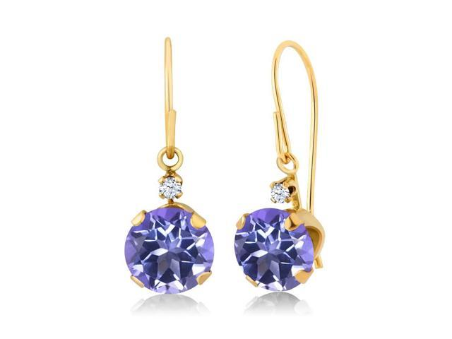 2.03 Ct Round Purple Blue Mystic Topaz 14K Yellow Gold Earrings