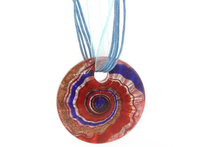 Beautiful Circular Shape Multi Color Murano Style Pendant with Cord