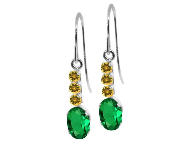 1.01 Ct Oval Green Simulated Emerald Simulated Citrine 10K White Gold Earrings
