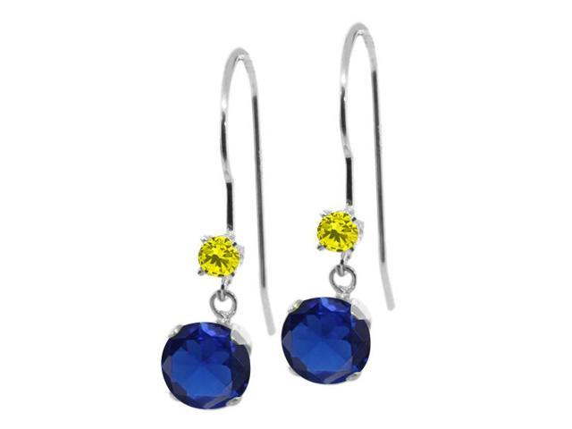1.23 Ct Round Blue Simulated Sapphire Canary Diamond 14K White Gold Earrings