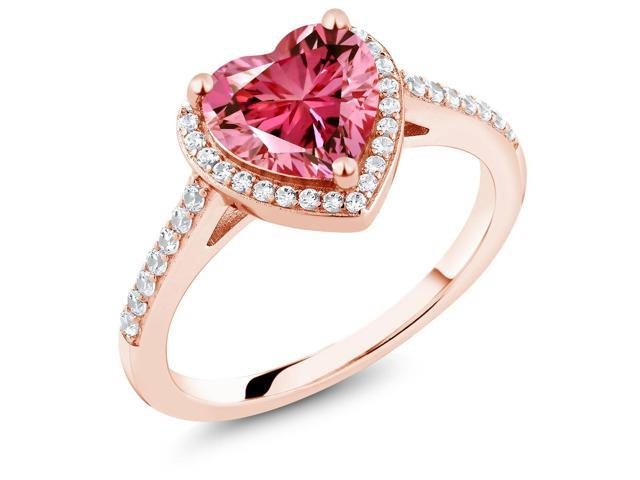 1.92 Ct 18K Rose Gold Plated Silver Ring Made With Fancy Pink Swarovski Zirconia