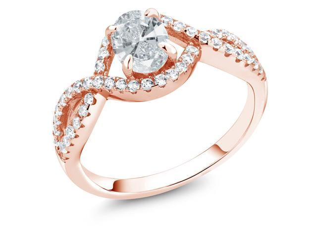 1.26 Ct White 925 Rose Gold Plated Silver Ring Made With Swarovski Zirconia