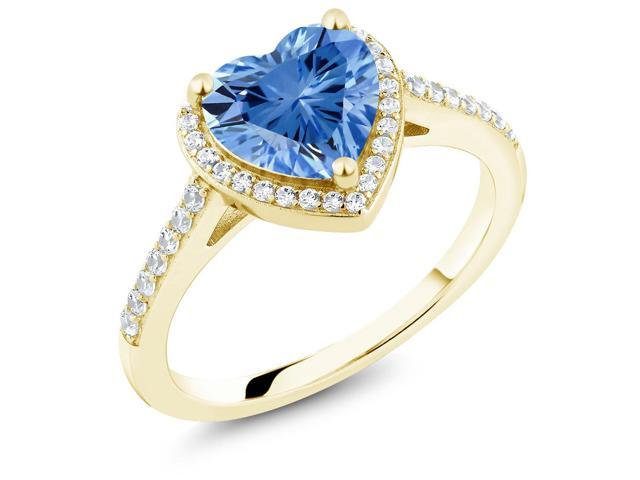 18K Yellow Gold Plated Silver Ring Made With Fancy Blue Swarovski Zirconia