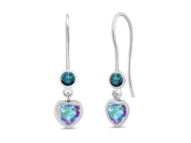 1.36 Ct Mercury Mist Mystic Topaz Blue Diamond 925 Sterling Silver Earrings