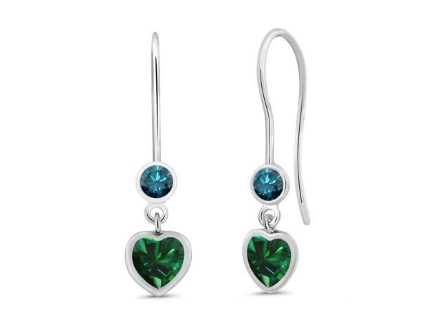 1.10 Ct Heart Shape Green Nano Emerald Blue Diamond 925 Sterling Silver Earrings