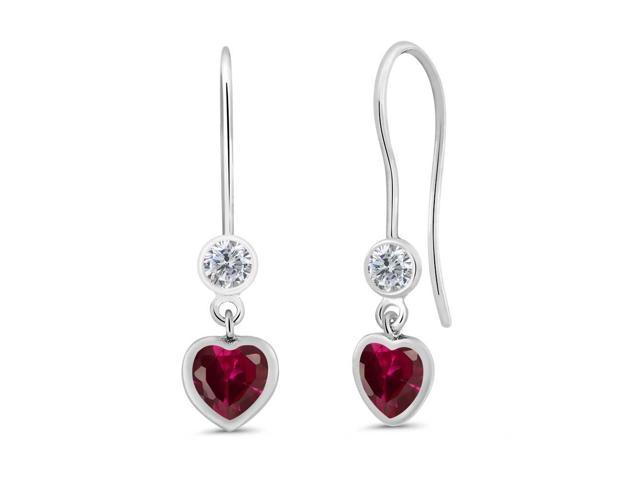 1.44 Ct Heart Shape Red Created Ruby G/H Diamond 925 Sterling Silver Earrings