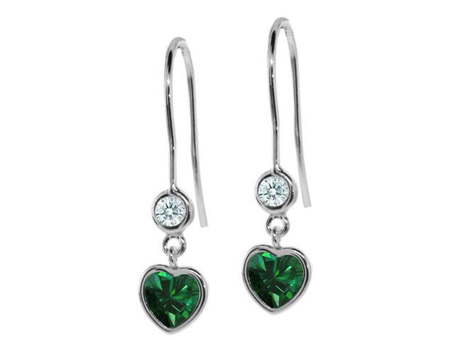 1.10 Ct Green 925 Sterling Silver Earrings Made With Swarovski Zirconia