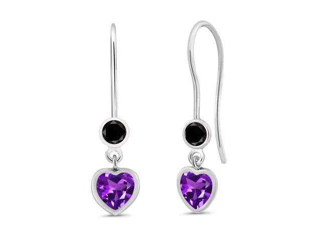 1.04 Ct Heart Shape Purple Amethyst Black Diamond 925 Sterling Silver Earrings