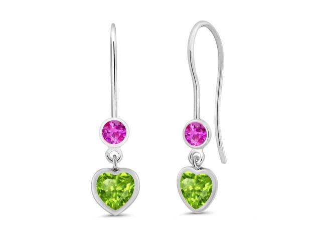 1.28 Ct Heart Shape Green Peridot Pink Sapphire 925 Sterling Silver Earrings