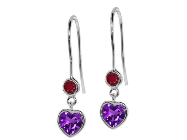 1.08 Ct Heart Shape Purple Amethyst Red Ruby 925 Sterling Silver Earrings