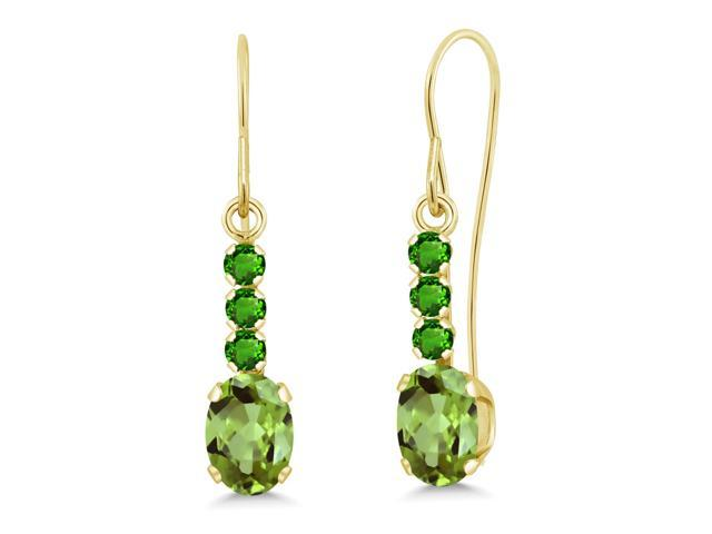 1.24 Ct Oval Green Peridot Green Simulated Tsavorite 10K Yellow Gold Earrings