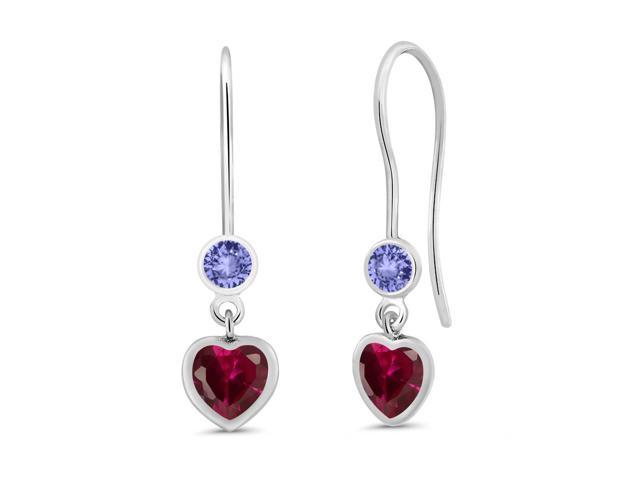 1.44 Ct Heart Shape Red Created Ruby Blue Tanzanite 925 Sterling Silver Earrings