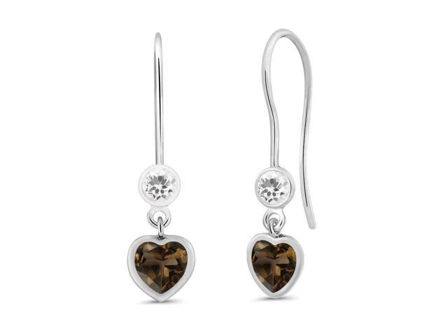 1.14 Ct Heart Shape Brown Smoky Quartz White Sapphire 925 Silver Earrings