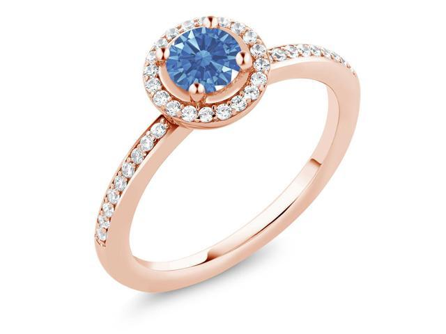 0.65 Ct 18K Rose Gold Plated Silver Ring Made With Fancy Blue Swarovski Zirconia
