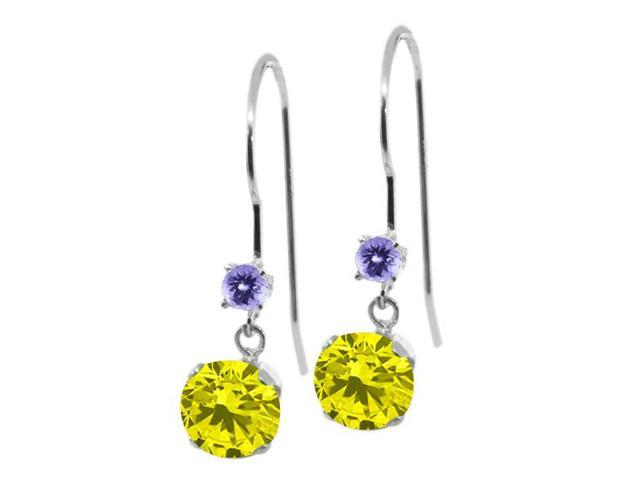 1.26 Ct Round Canary Diamond Blue Tanzanite 14K White Gold Earrings