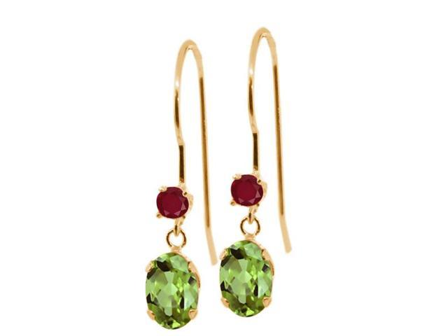 1.24 Ct Oval Green Peridot Red Ruby 14K Yellow Gold Earrings