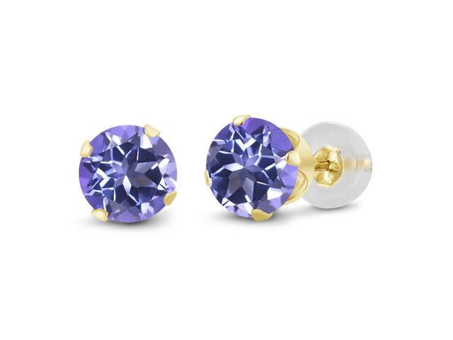 2.00 Ct Round 6mm Purple Blue Mystic Topaz 14K Yellow Gold Stud Women's Earrings