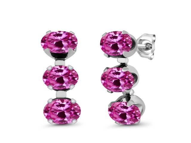 3.60 Ct Oval Pink Created Sapphire 925 Sterling Silver 3-Stone Earrings