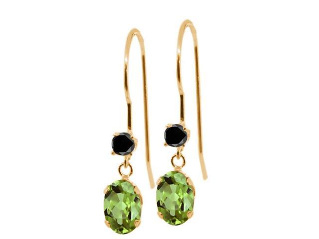 1.13 Ct Oval Green Peridot Black Diamond 14K Yellow Gold Earrings