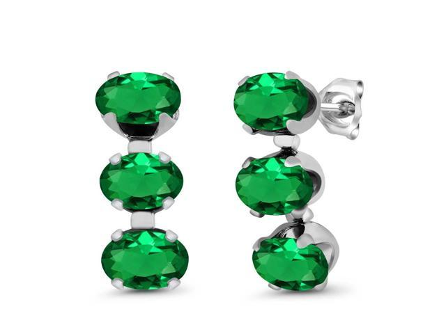 2.40 Ct Oval Green Nano Emerald 925 Sterling Silver 3-Stone Earrings