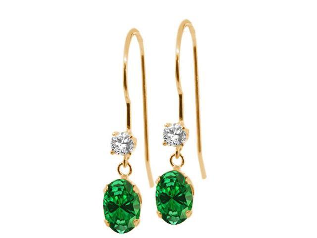 1.46 Ct Oval Green Simulated Emerald 14K Yellow Gold Earrings