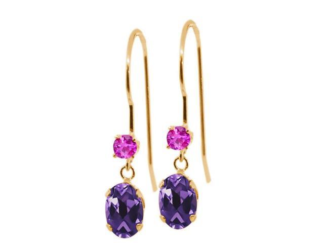 1.06 Ct Oval Purple Amethyst Pink Sapphire 14K Yellow Gold Earrings