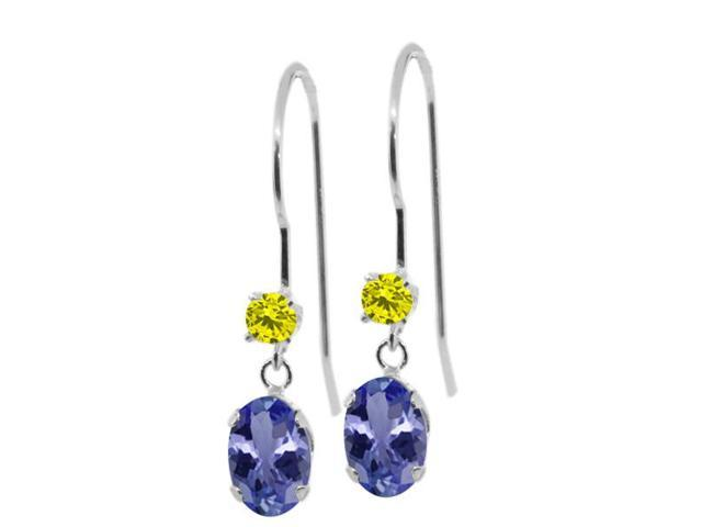 1.03 Ct Oval Blue Tanzanite Canary Diamond 14K White Gold Earrings