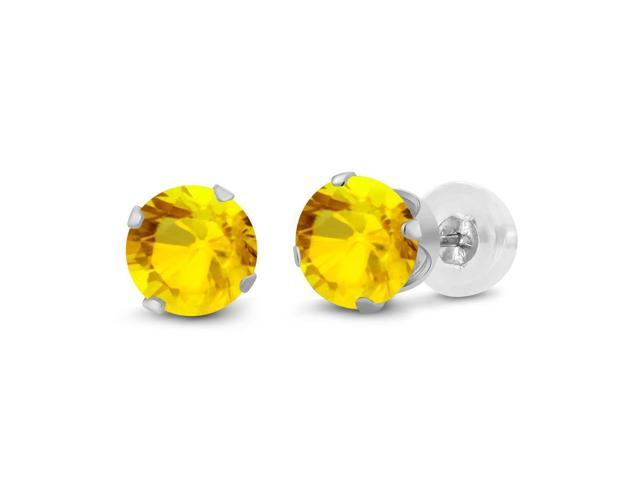 0.72 Ct Round 4mm Yellow Sapphire 14K White Gold Stud Earrings