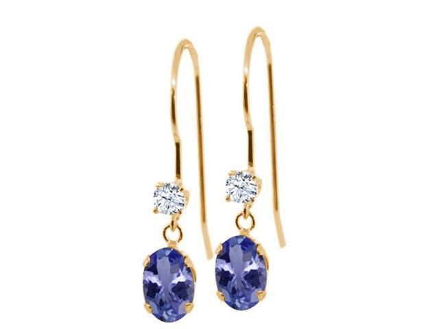 1.06 Ct Oval Blue Tanzanite White Topaz 14K Yellow Gold Earrings