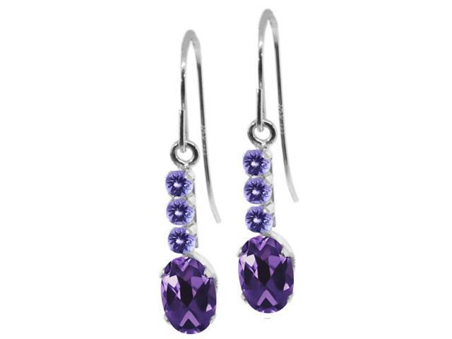 1.14 Ct Oval Purple Amethyst Blue Tanzanite 10K White Gold Earrings