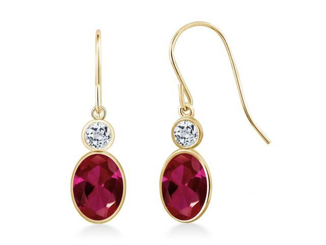 2.16 Ct Oval Red Created Ruby White Topaz 14K Yellow Gold Earrings
