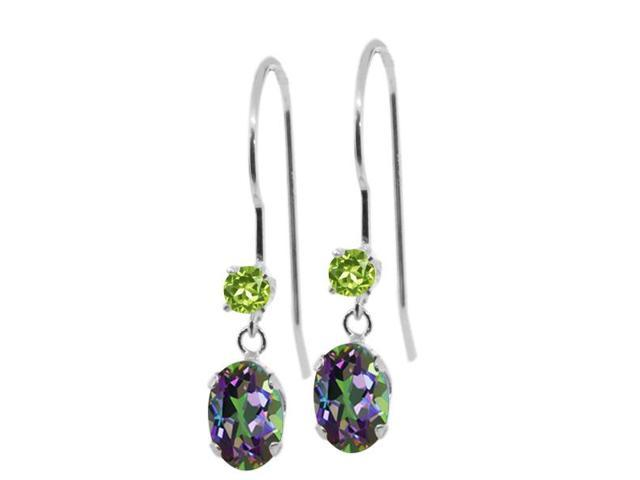 1.24 Ct Oval Green Mystic Topaz Green Peridot 14K White Gold Earrings