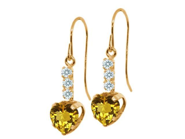 1.57 Ct Heart Shape Yellow Citrine White Sapphire 14K Yellow Gold Earrings