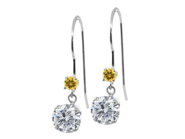 1.14 Ct Round Diamond and Yellow Simulated Citrine 14K White Gold Earrings