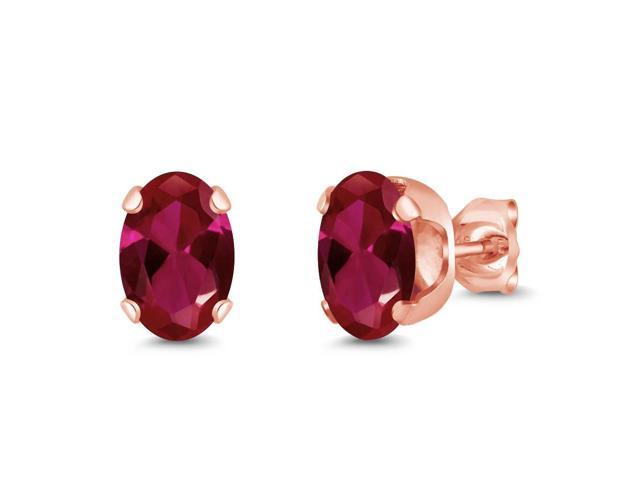 1.88 Ct Oval 7x5mm Red Created Ruby 18K Rose Gold Stud Earrings