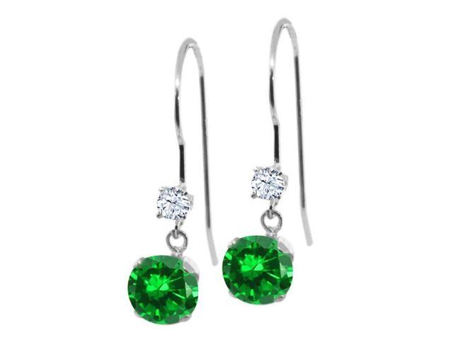 1.84 Ct Round Green Simulated Emerald White Topaz 14K White Gold Earrings