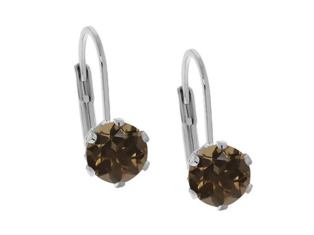 1.60 Ct Round Brown Smoky Quartz 925 Sterling Silver Earrings