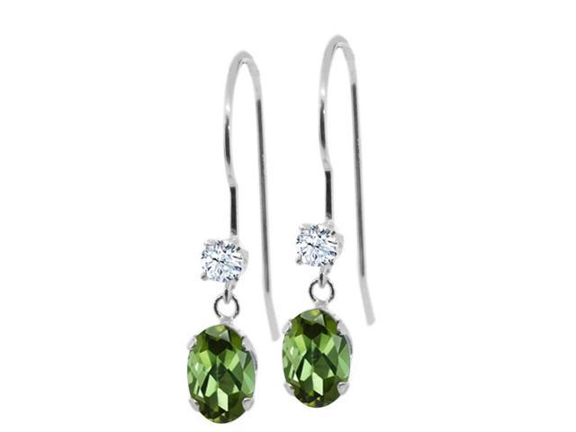 0.96 Ct Oval Green Tourmaline White Topaz 14K White Gold Earrings