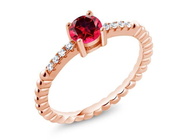 925 Rose Gold Plated Silver Ring Set with Blazing Red Topaz from Swarvoski