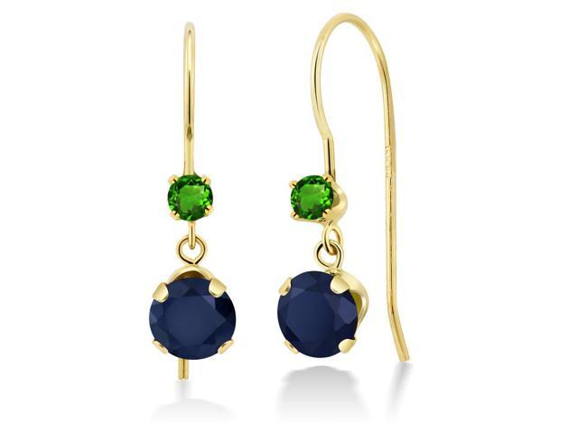 1.34 Ct Round Blue Sapphire Green Simulated Tsavorite 14K Yellow Gold Earrings