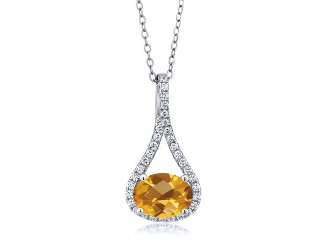 1.69 Ct Oval Checkerboard Yellow Citrine 925 Sterling Silver Pendant