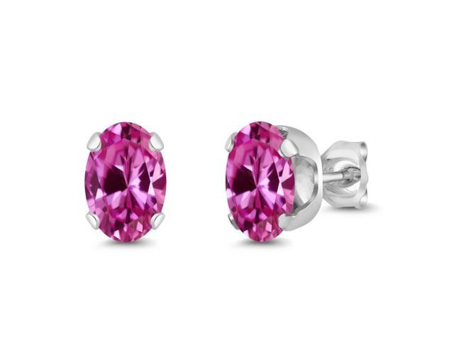2.00 Ct Oval 7x5mm Pink Created Sapphire 925 Sterling Silver Stud Earrings