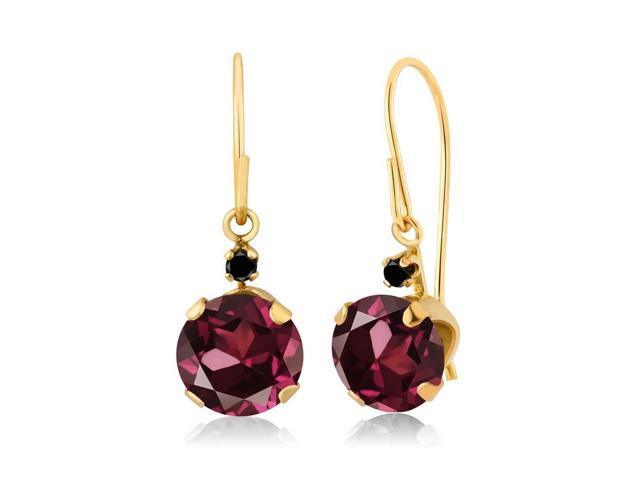 2.03 Ct Round Red Rhodolite Garnet Black Diamond 14K Yellow Gold Earrings
