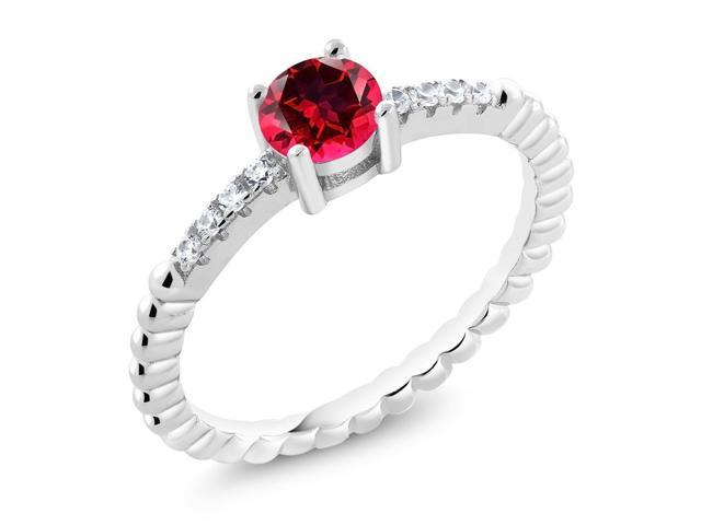 925 Sterling Silver Ring Set with Round Blazing Red Topaz from Swarovski
