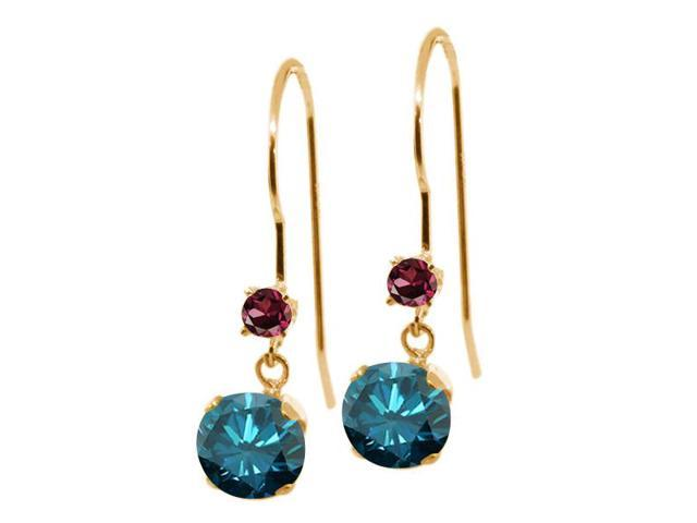 1.28 Ct Round Blue Diamond Red Rhodolite Garnet 14K Yellow Gold Earrings